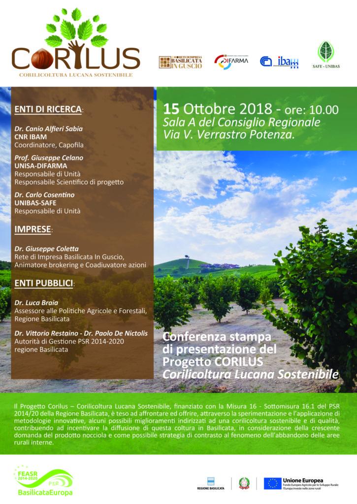 Progetto CORILUS: il 15 Ottobre a Potenza la conferenza stampa di presentazione